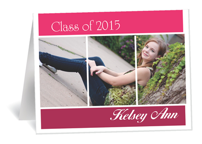 Pink Stripes Grad Invite