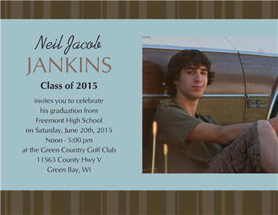 Blue Stripe Grad Invite