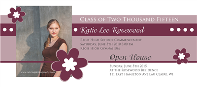 Purple Flower Grad Invite